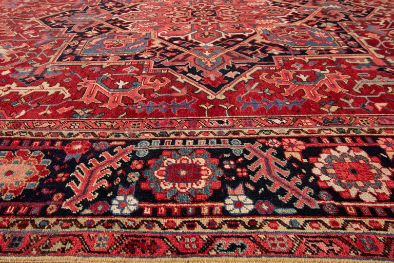 Large Antique Red/Rust Geometric Heriz Carpet For Sale 1