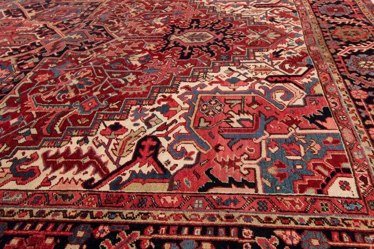 Large Antique Red/Rust Geometric Heriz Carpet For Sale 2