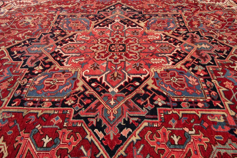 Large Antique Red/Rust Geometric Heriz Carpet For Sale 3