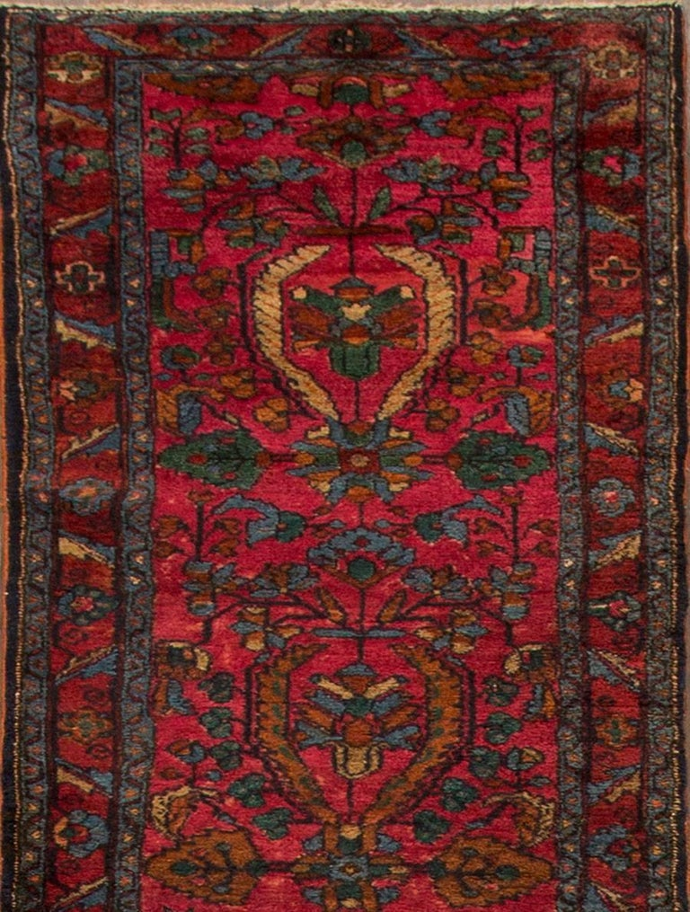 Persian Antique Red and Blue Floral Lilihan Runner Rug For Sale