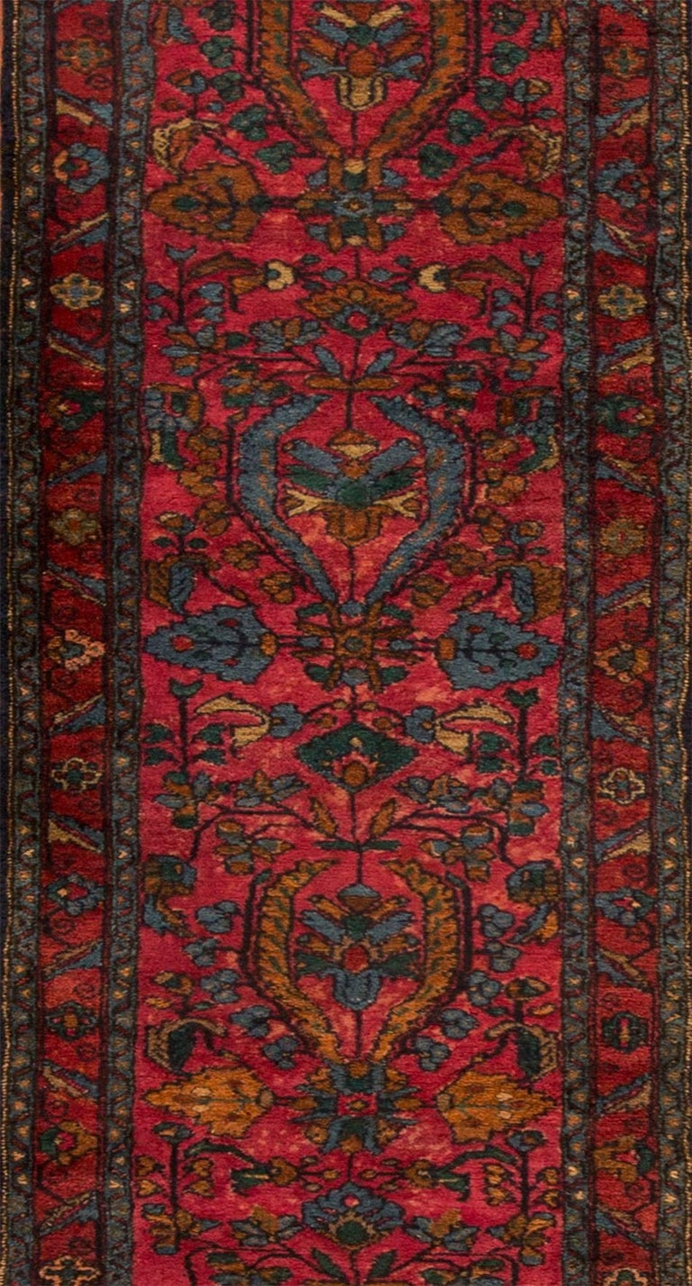 Hand-Knotted Antique Red and Blue Floral Lilihan Runner Rug For Sale