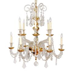 Gold-Plated over Brass and Lead Crystal, Nine-Light, Italian Chandelier