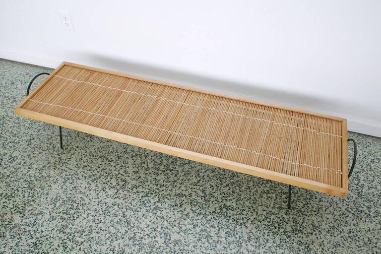 Rare coffee table with inset dowels by William Katavolos, Ross Littell and Douglas Kelley for Laverne Originals, circa 1949. Original dowels. Newly rewoven.