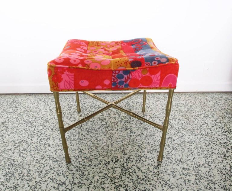 Jack Lenor X-Base Ottoman Gold Bamboo In Good Condition For Sale In St. Louis, MO