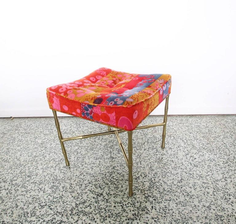 Late 20th Century Jack Lenor X-Base Ottoman Gold Bamboo For Sale