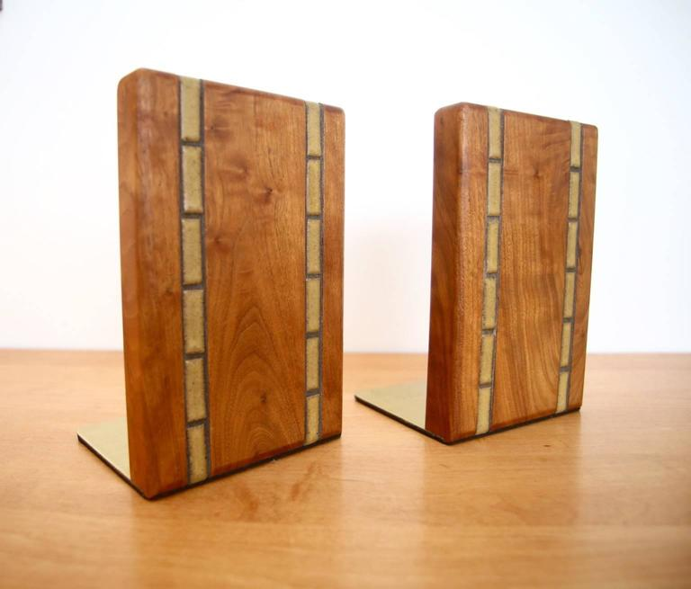 Martz Walnut Bookends for Marshall Studios In Excellent Condition For Sale In St. Louis, MO