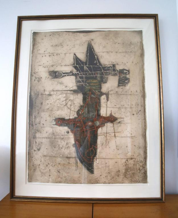 Johnny Friedlaender Mid-Century Modernist Abstract Etching In Excellent Condition For Sale In St. Louis, MO