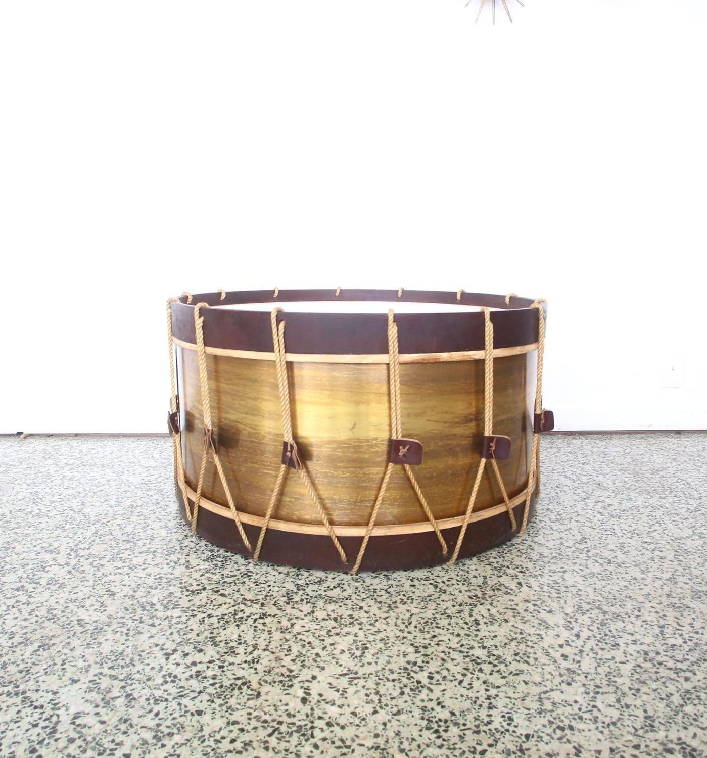 Vintage Large Drum Coffee Table For Sale At 1stdibs
