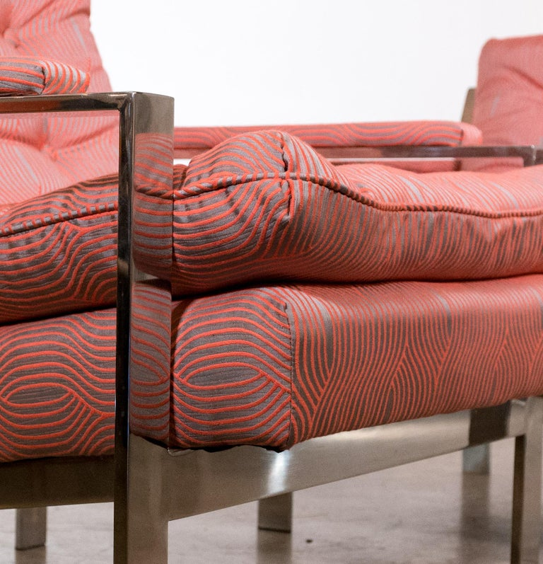 Pair of Chrome Lounge Chairs by Cy Mann 1970 Recently Reupholstered In Excellent Condition For Sale In St. Louis, MO