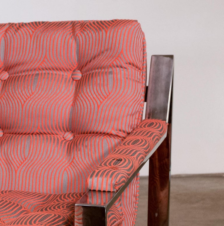 20th Century Pair of Chrome Lounge Chairs by Cy Mann 1970 Recently Reupholstered For Sale