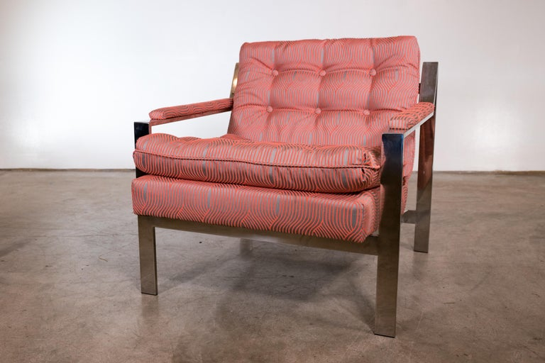 Mid-Century Modern Pair of Chrome Lounge Chairs by Cy Mann 1970 Recently Reupholstered For Sale