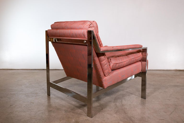 Pair of Chrome Lounge Chairs by Cy Mann 1970 Recently Reupholstered For Sale 3