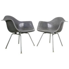 Pair of Elephant Grey Eames Armchairs