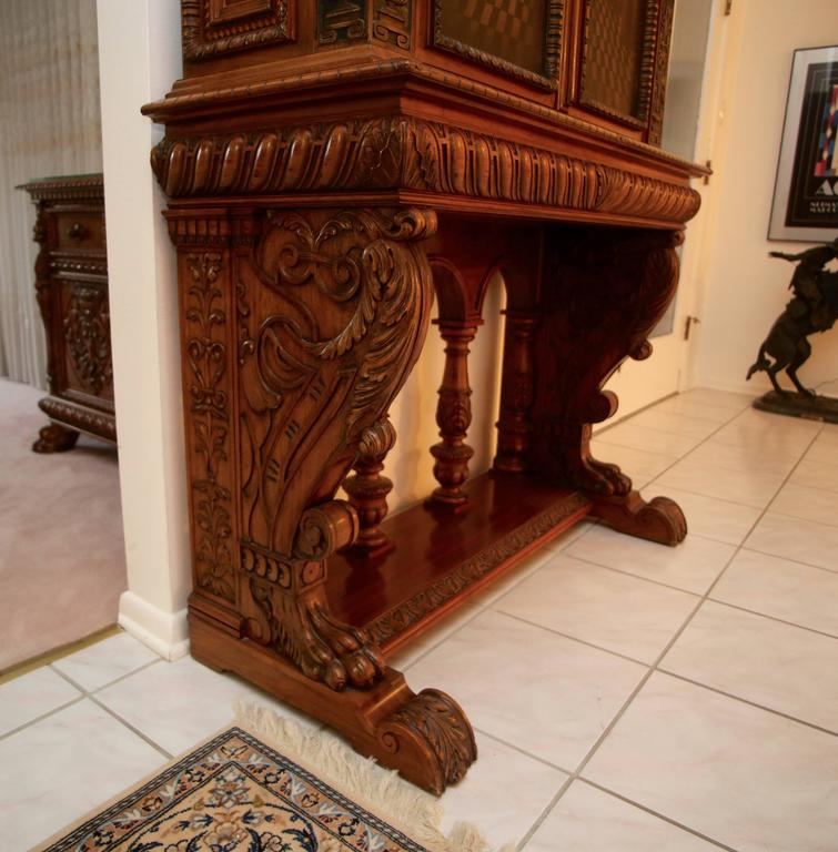 Antique Italian Baroque Tall Carved Wood Chest Server With
