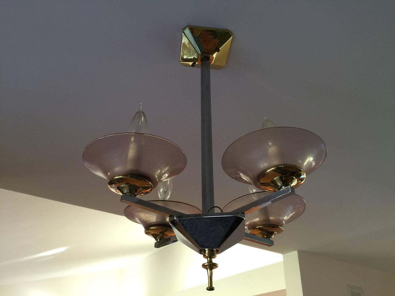 Foyer Glass Chandelier : Brass and chrome depression glass foyer small modern