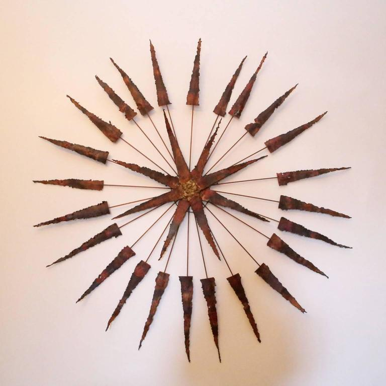 Starburst Metal Wall Sculpture In Excellent Condition For Sale In St. Louis, MO