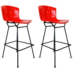 Rare Pair of Red Fiberglass Knoll Bertoia Stools