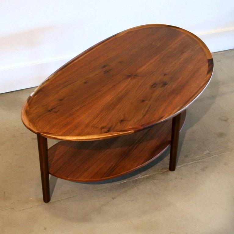 Vintage Danish Walnut Kidney Coffee Table At 1stdibs