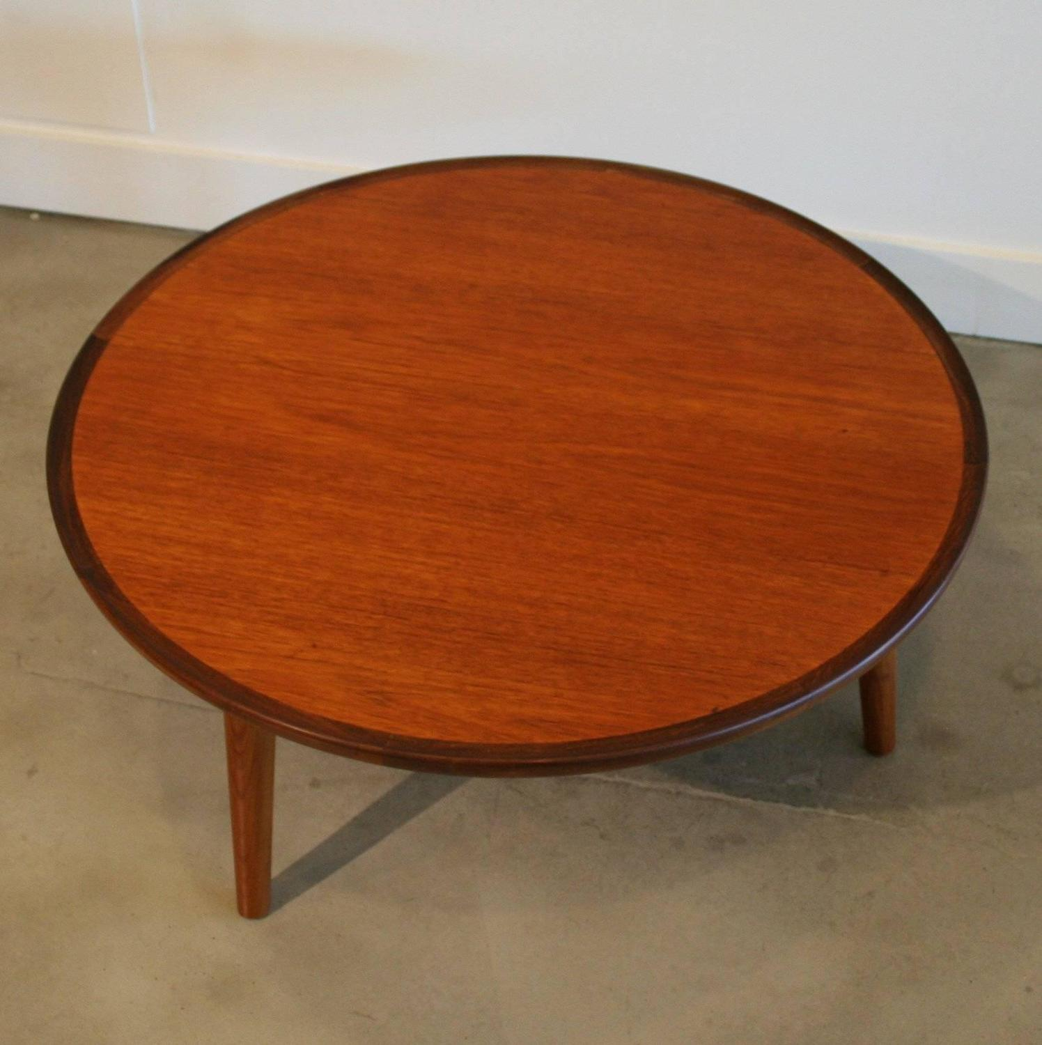 Vintage danish teak round coffee table by peter hvidt at for Coffee tables vancouver canada