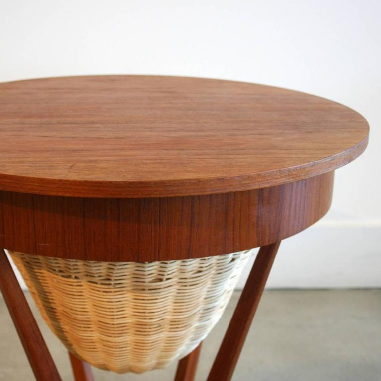 Vintage Danish Teak Accent Table with Cane Basket at 1stdibs