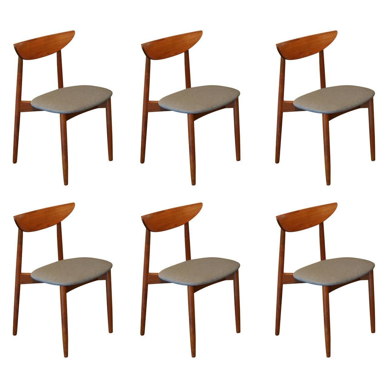 Set of six vintage danish teak dining chairs by harry ostergaard at 1stdibs - Scandinavian teak dining room furniture ...