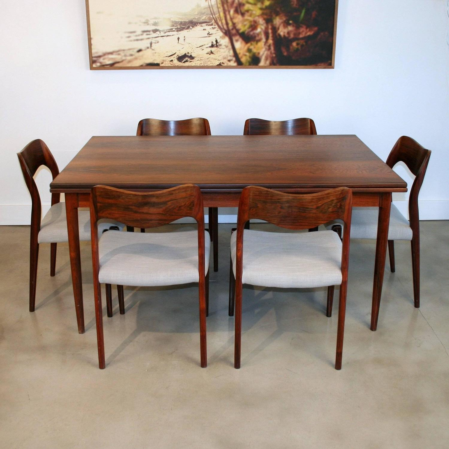 Vintage Danish Rosewood Dining Table By N O M Ller At 1stdibs