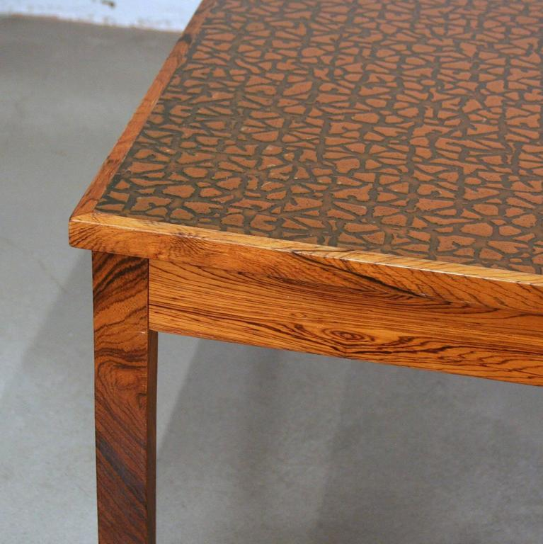 Copper Wooden Coffee Table: Vintage Danish Rosewood And Copper Coffee Table At 1stdibs