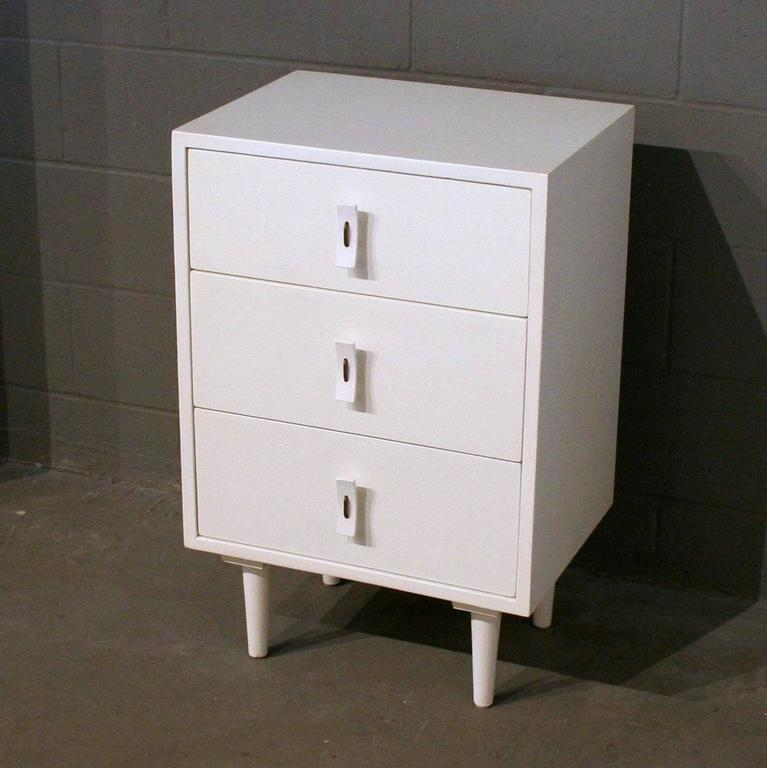Vintage inspired white narrow three drawer dresser for for Narrow dressing table with drawers