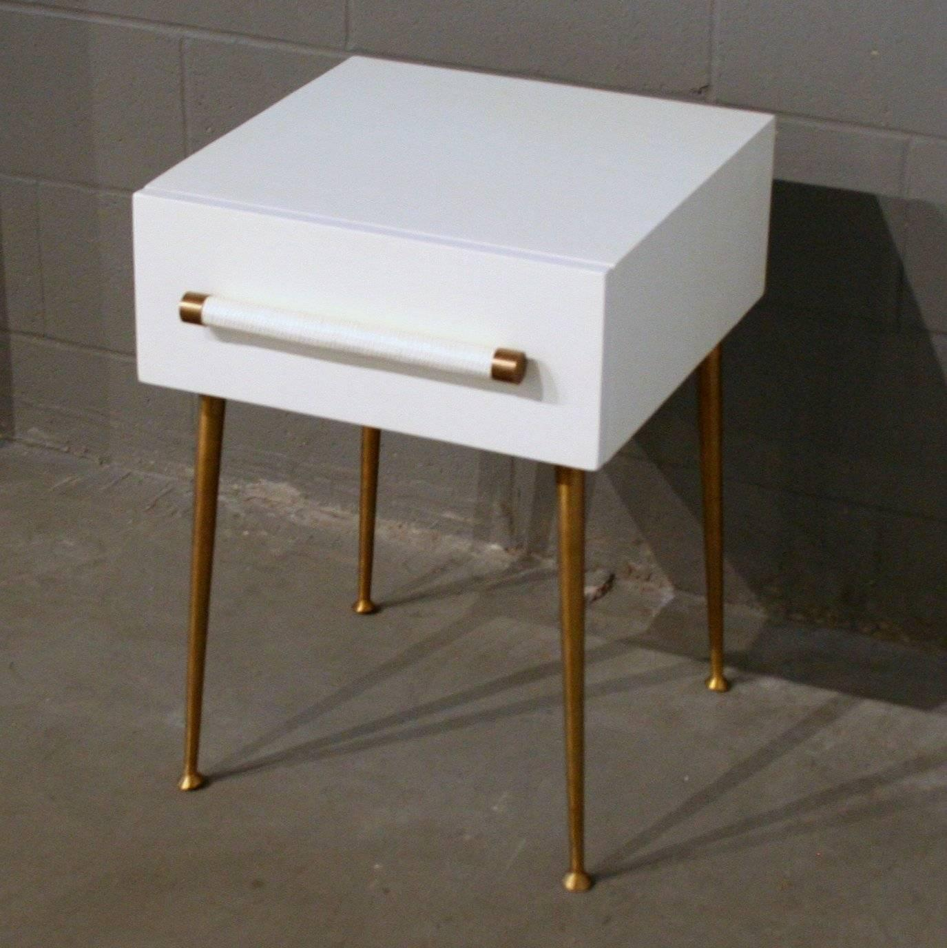 vintage inspired white and brass nightstand for sale at 1stdibs. Black Bedroom Furniture Sets. Home Design Ideas