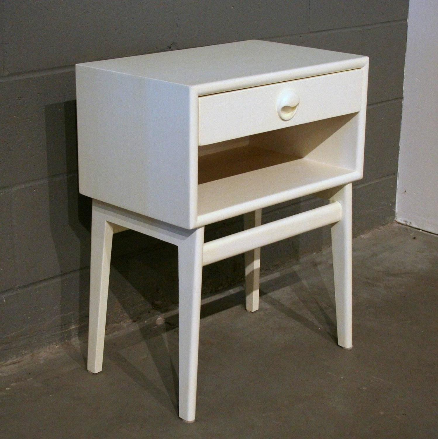 Vintage inspired white wooden nightstand at 1stdibs for White wood nightstand