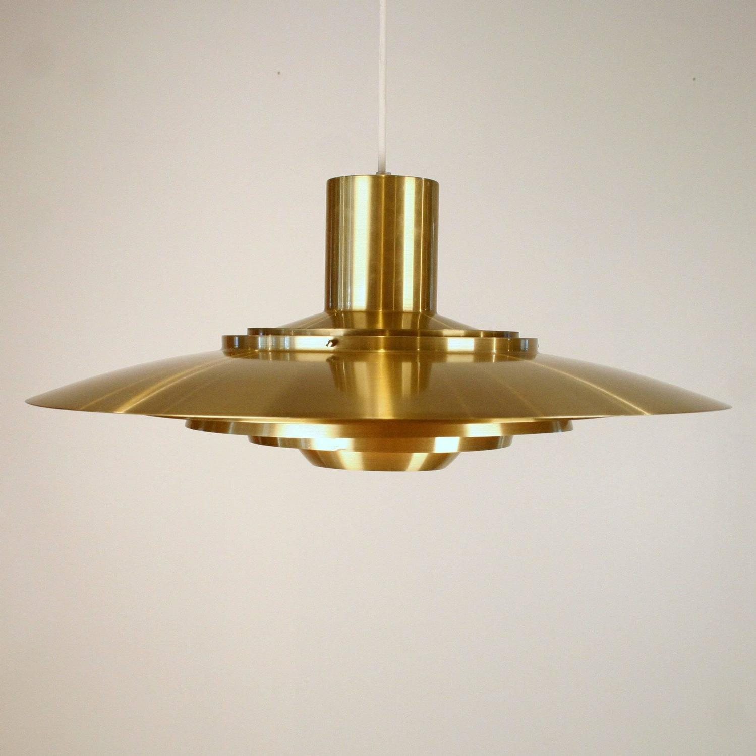 Vintage Danish Brass Saucer Pendant At 1stdibs