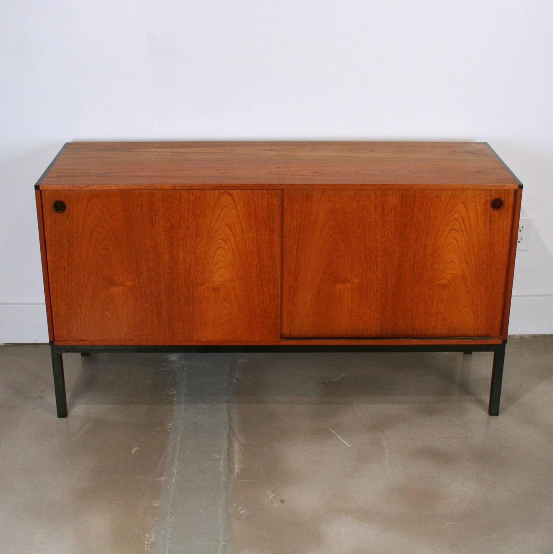 Vintage Danish Teak Office Cabinet Sideboard For Sale At