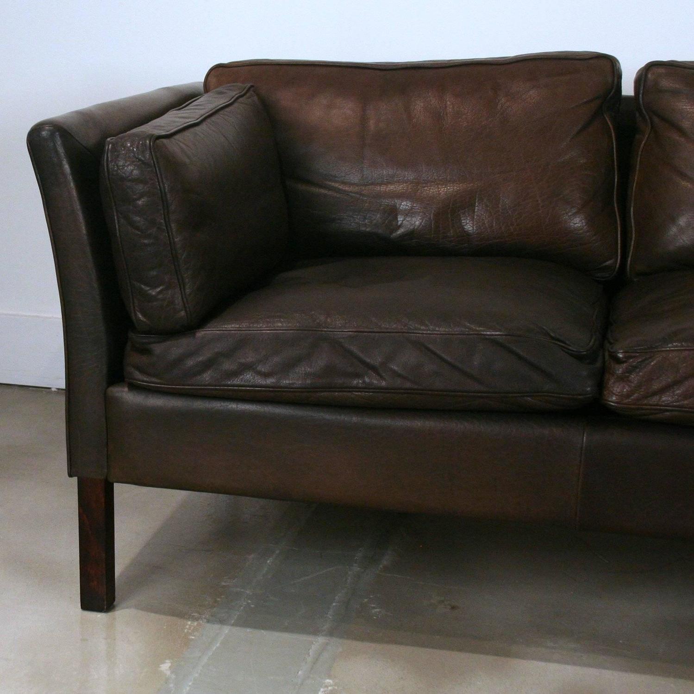 vintage dark brown leather three seat sofa for sale at 1stdibs. Black Bedroom Furniture Sets. Home Design Ideas