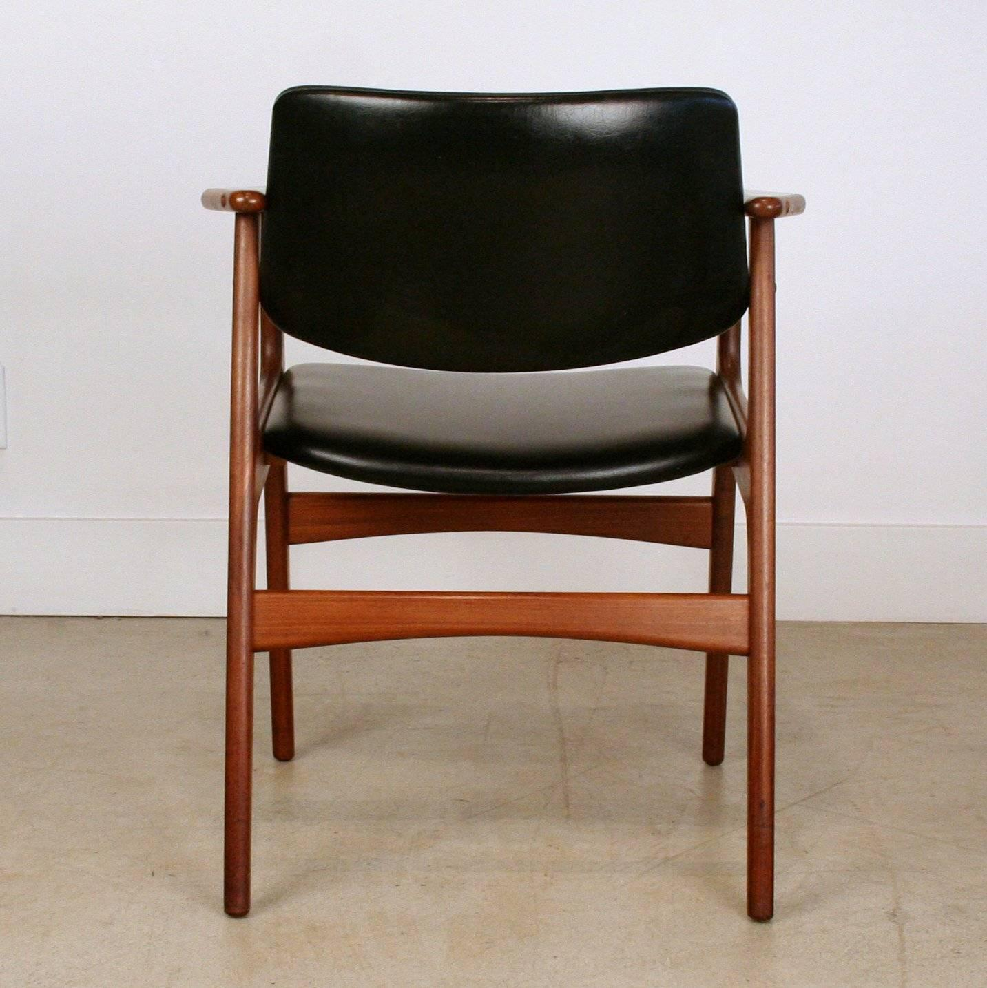 vintage danish teak and vinyl armchairs for sale at 1stdibs