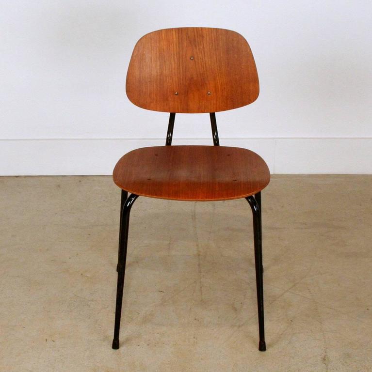 Vintage Teak and Metal School Chair at 1stdibs