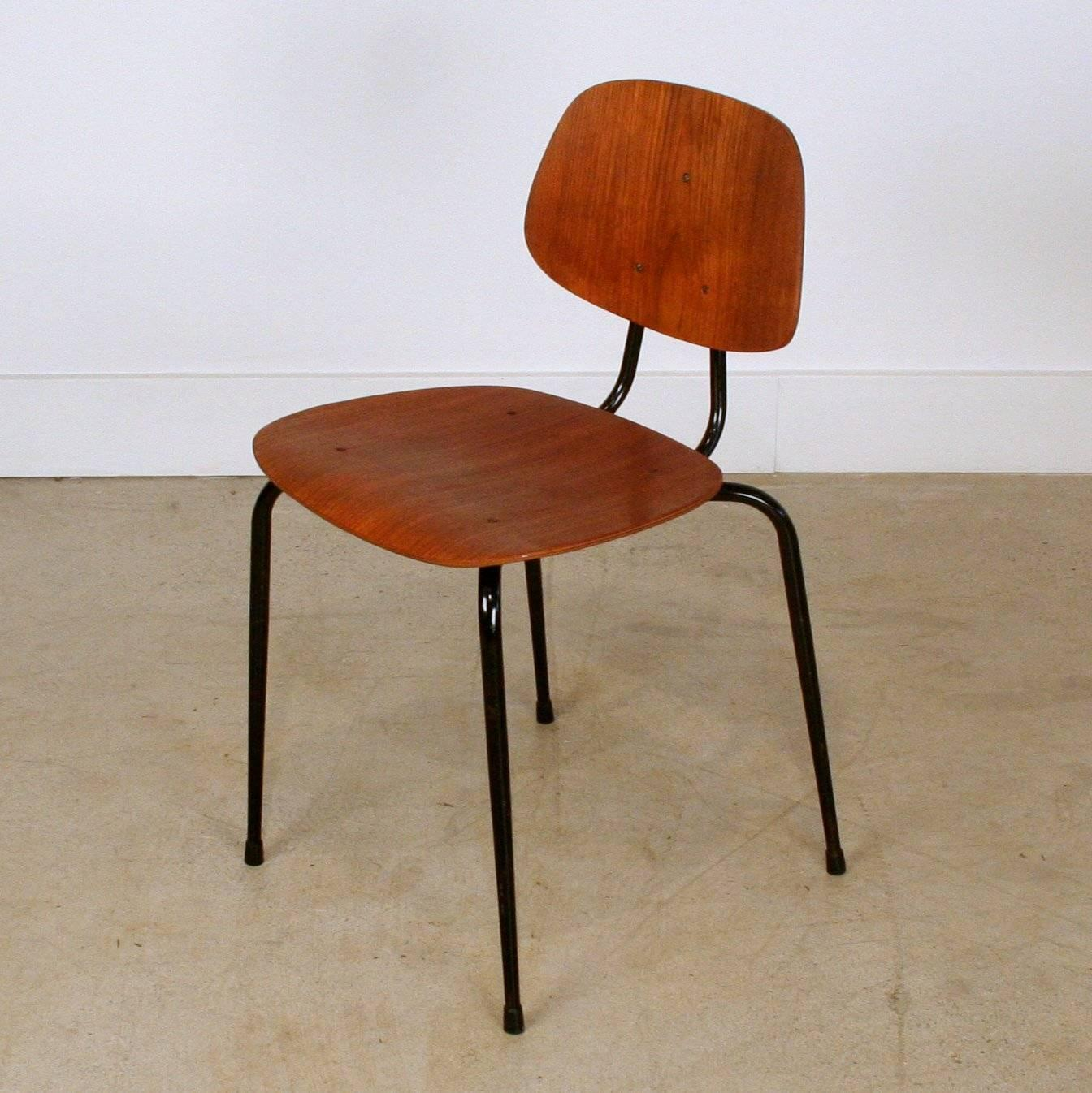 Vintage Teak and Metal School Chair For Sale at 1stdibs