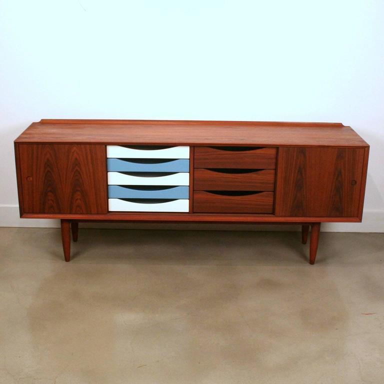 arne vodder inspired teak sideboard at 1stdibs. Black Bedroom Furniture Sets. Home Design Ideas