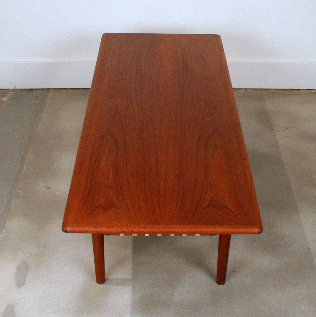 Old Teak Coffee Table: Vintage Danish Teak Coffee Table With Cane Shelf For Sale