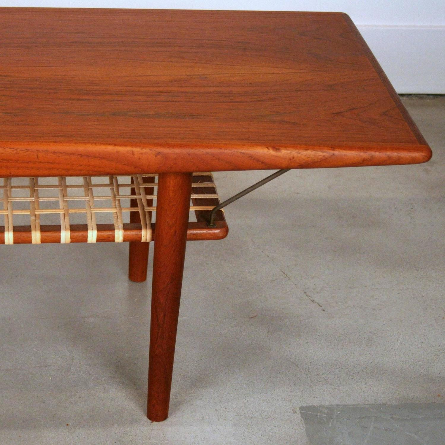 Vintage Danish Teak Coffee Table With Cane Shelf For Sale At 1stdibs