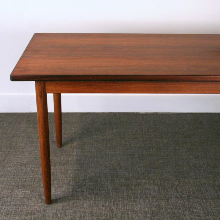 Vintage danish rosewood narrow dining table at 1stdibs for Thin dining table