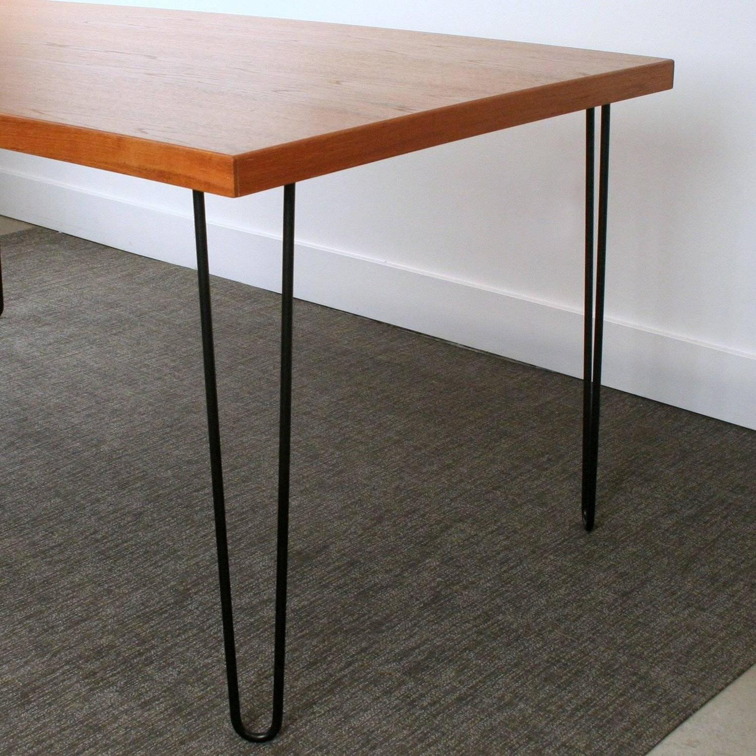 Teak black hairpin legs dining table for sale at 1stdibs for Most beautiful dining room tables