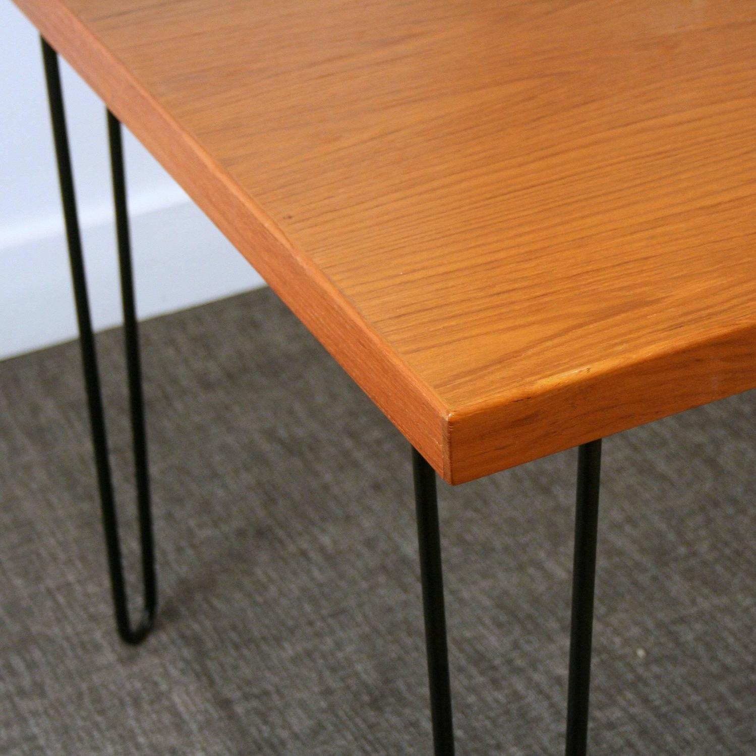 teak black hairpin legs dining table for sale at 1stdibs