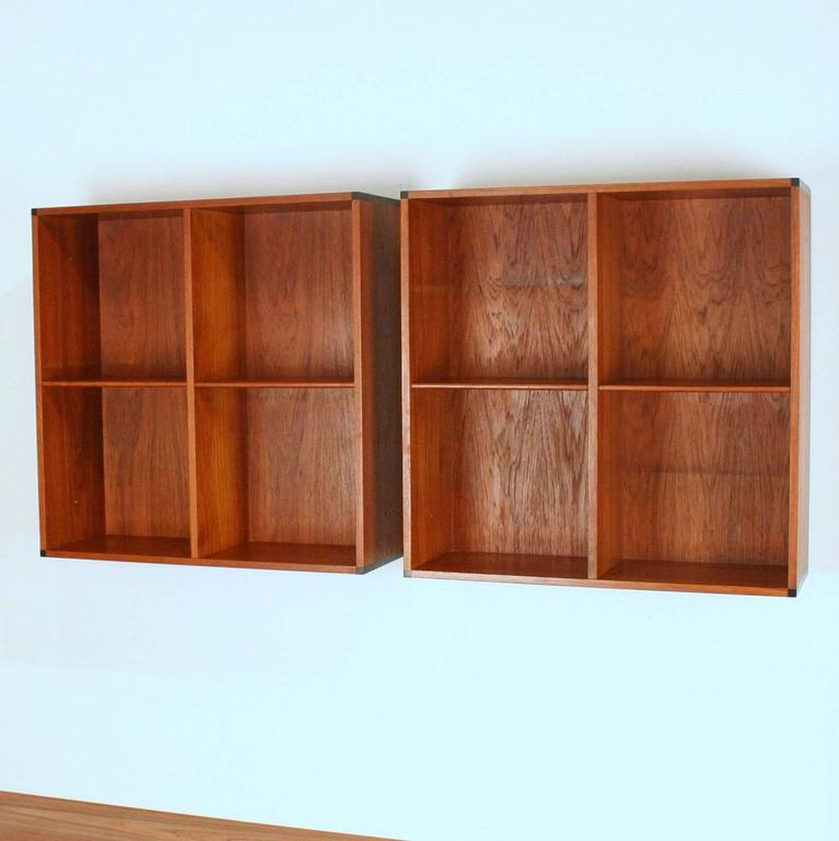 Vintage danish teak wall mounted book shelves at 1stdibs Wall mounted bookcase shelves