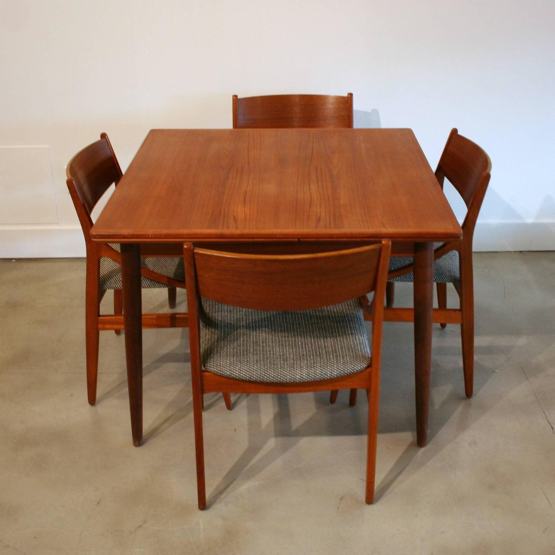 Vintage Danish Square Teak Dining Table At 1stdibs
