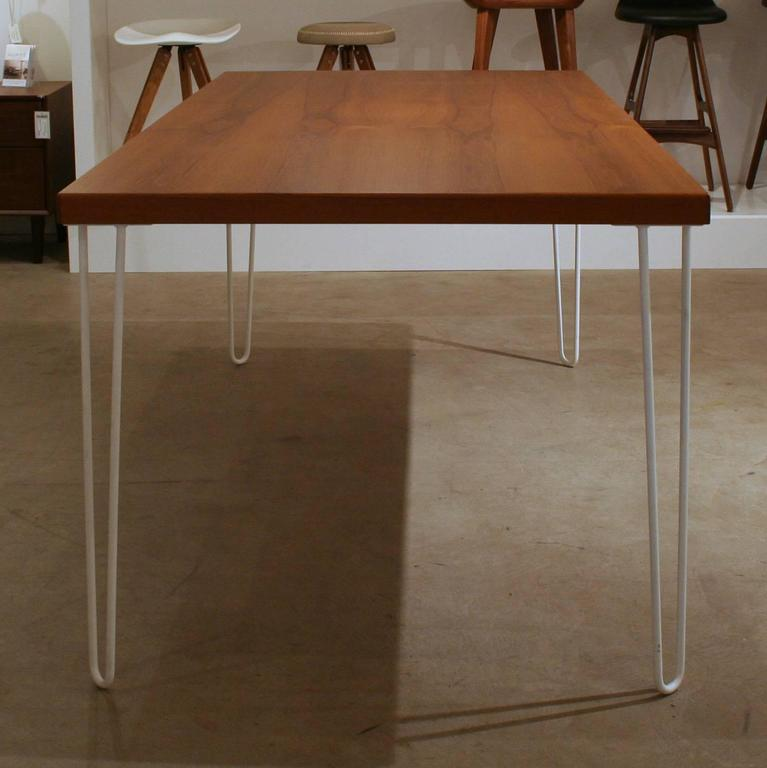 Teak Dining Table With Metal Legs At 1stdibs