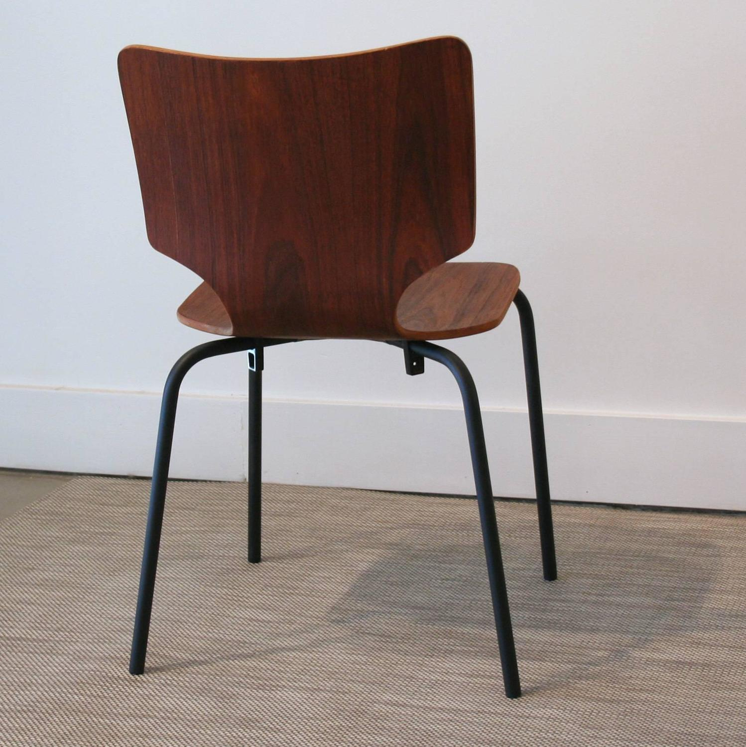 Vintage Danish Teak Bent Ply Wood On Matte Black Metal Legs For Sale At 1stdibs