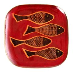 Fabulous Miguel Pineda Mexican Enameled Fish Tray