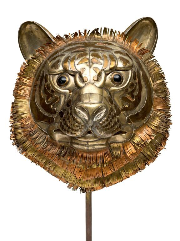 From the 1960s comes this great tiger sculpture by Sergio Bustamante of mixed metals on a copper base. Great scale and design makes this an unusual and dynamic Bustamante find! Signed.