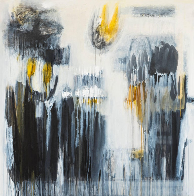 Blue and Yellow Abstract Painting by Ivanilde Brunow For Sale