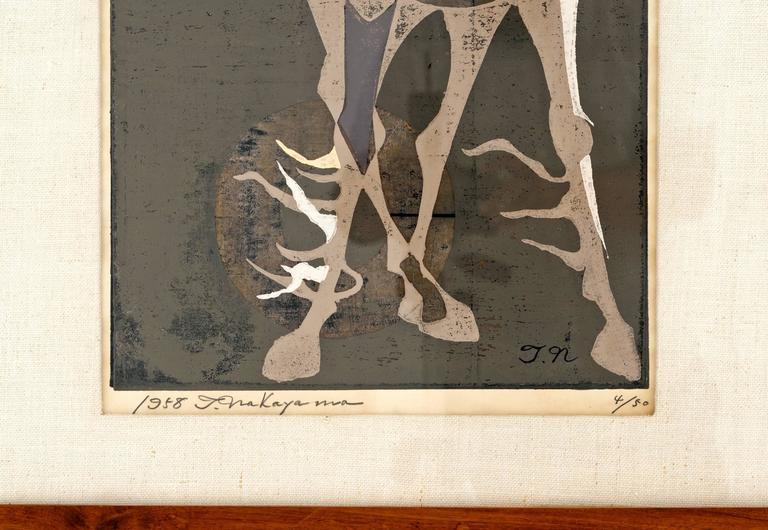 Japanese Tadashi Nakayama Horse Woodblock Print circa 1950's For Sale